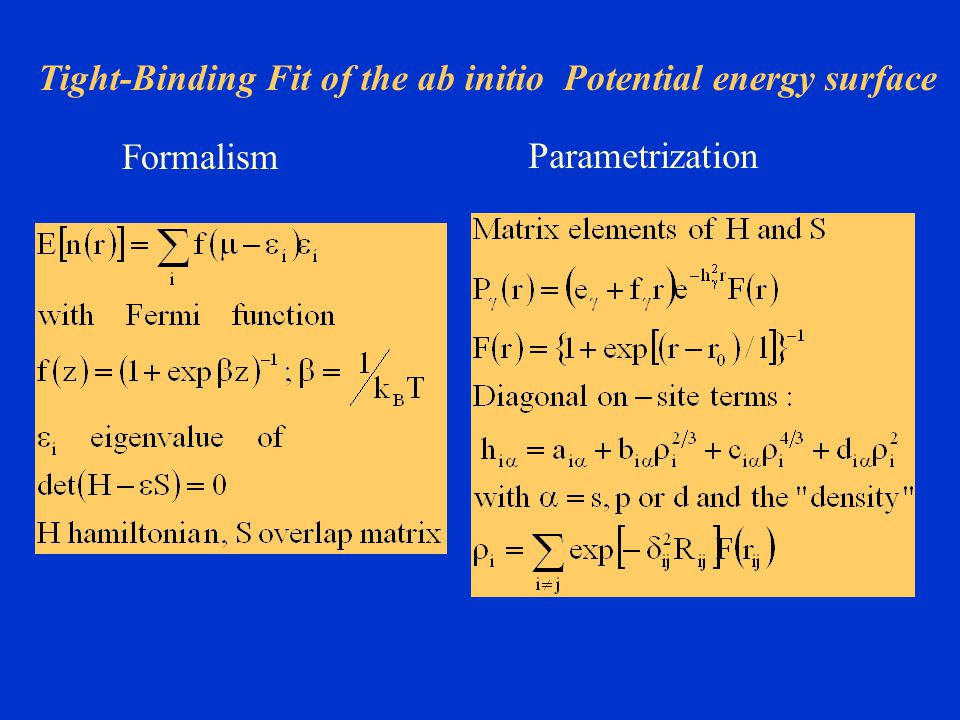 Tight-Binding Fit of the ab initio Potential energy surface Formalism Parametrization