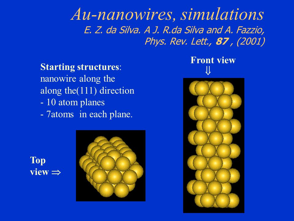 Au-nanowires, simulations E. Z. da Silva. A J. R.da Silva and A. Fazzio, Phys. Rev. Lett., 87, (2001) Starting structures: nanowire along the along th