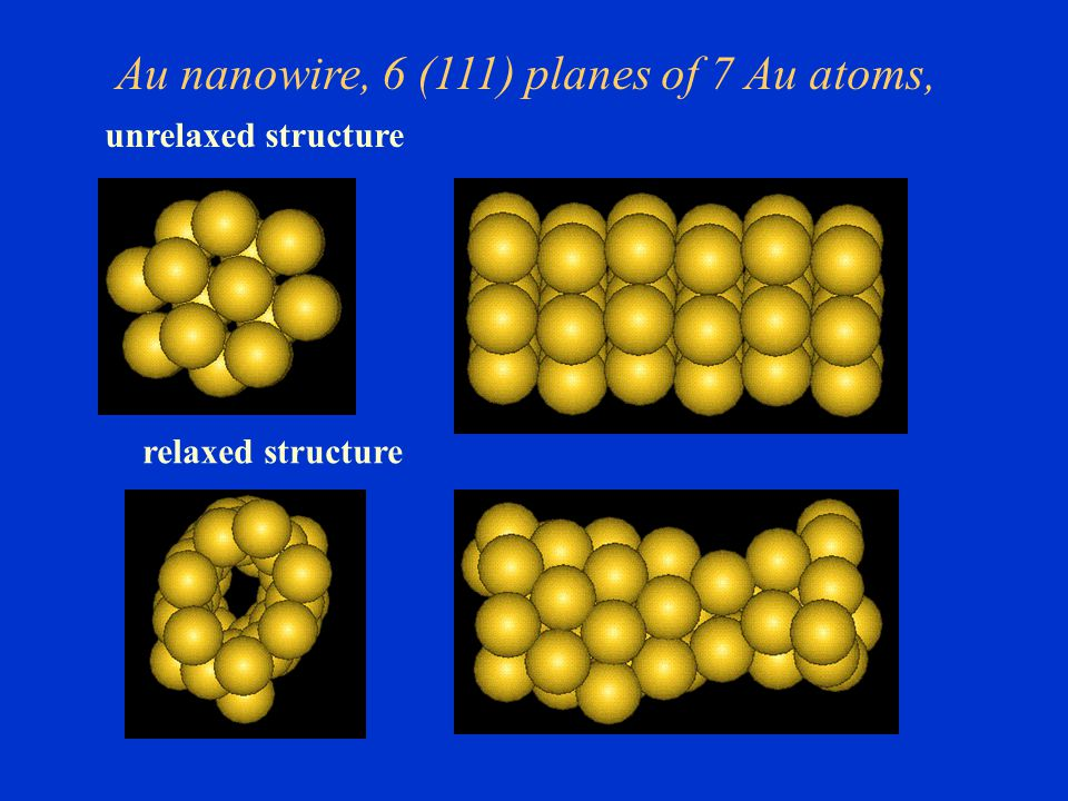 Au nanowire, 6 (111) planes of 7 Au atoms, relaxed structure unrelaxed structure