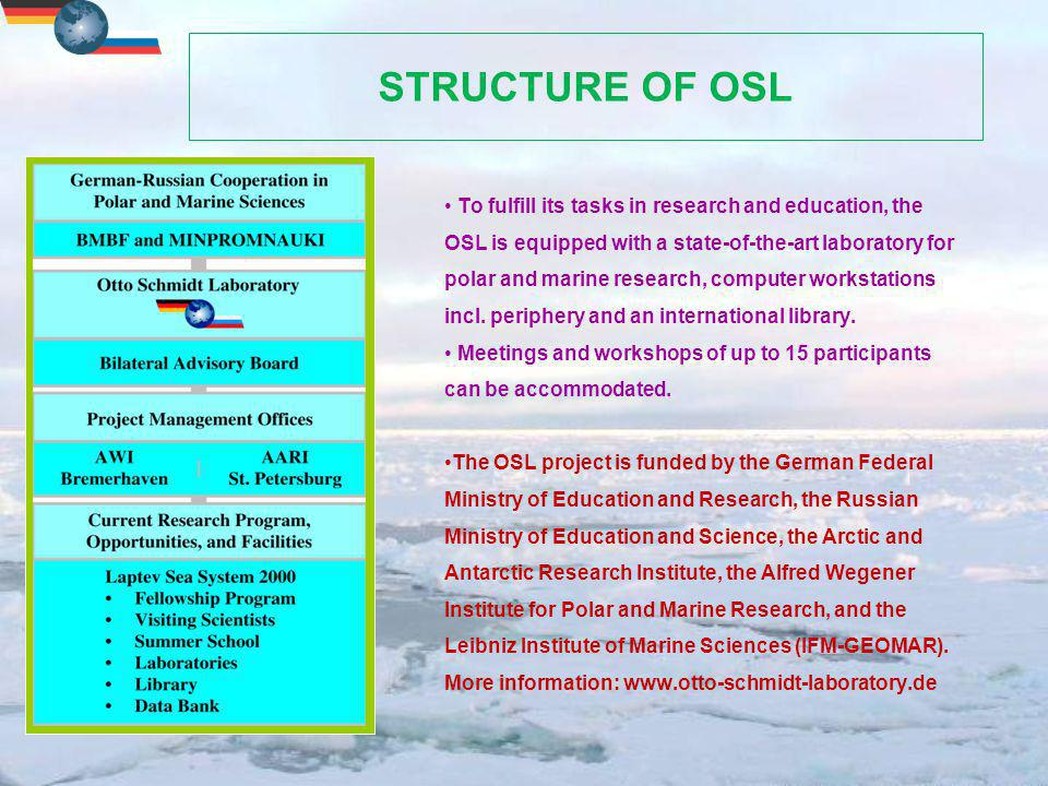 STRUCTURE OF OSL To fulfill its tasks in research and education, the OSL is equipped with a state-of-the-art laboratory for polar and marine research, computer workstations incl.