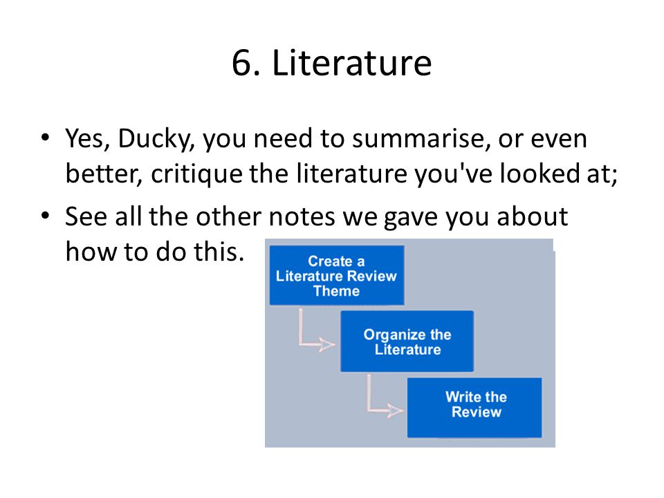 6. Literature Yes, Ducky, you need to summarise, or even better, critique the literature you've looked at; See all the other notes we gave you about h