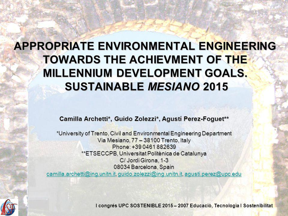 APPROPRIATE ENVIRONMENTAL ENGINEERING TOWARDS THE ACHIEVMENT OF THE MILLENNIUM DEVELOPMENT GOALS.