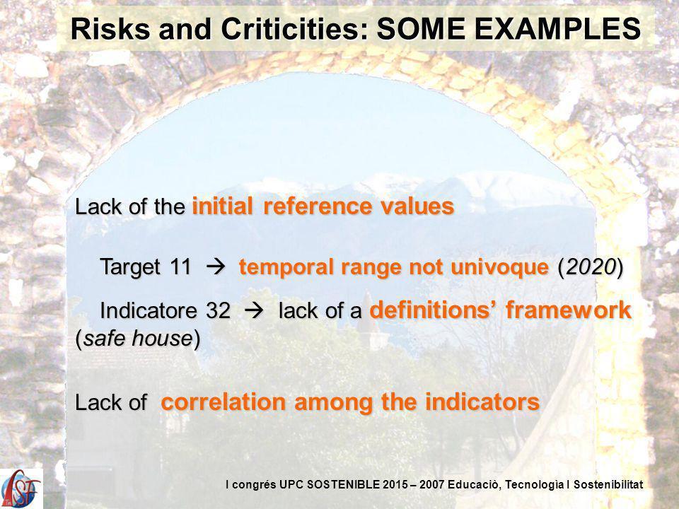 Lack of the initial reference values Target 11 temporal range not univoque (2020) Target 11 temporal range not univoque (2020) Indicatore 32 lack of a definitions framework (safe house) Indicatore 32 lack of a definitions framework (safe house) Lack of correlation among the indicators Risks and Criticities: SOME EXAMPLES I congrés UPC SOSTENIBLE 2015 – 2007 Educaciò, Tecnologìa I Sostenibilitat