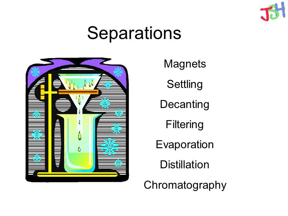 Separations Magnets Settling Decanting Filtering Evaporation Distillation Chromatography
