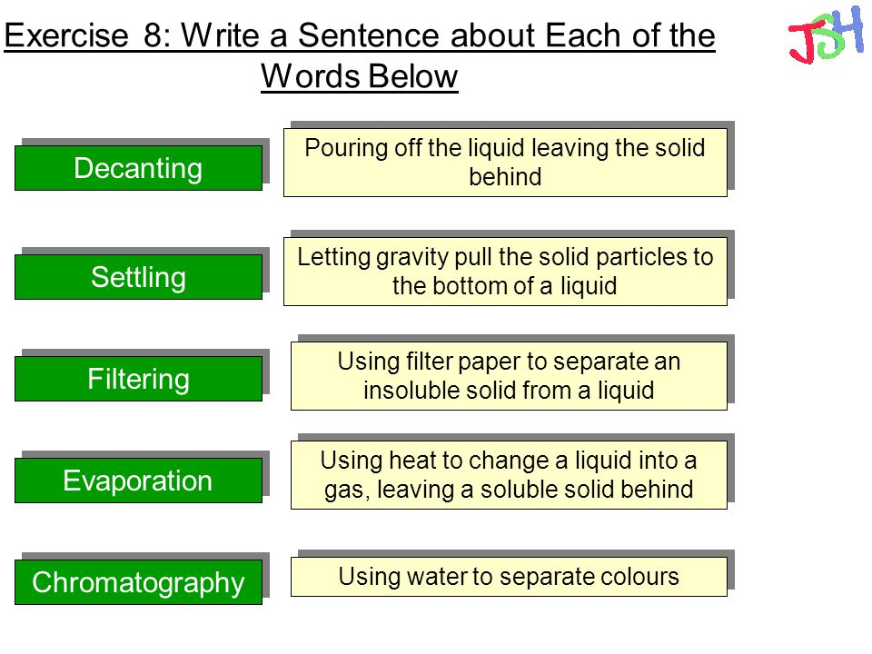 Exercise 8: Write a Sentence about Each of the Words Below Decanting Settling Filtering Evaporation Chromatography Using water to separate colours Usi