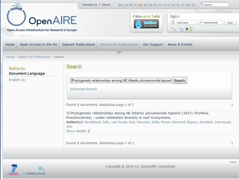 OpenAIRE, support FP7 OA pilot http://www.openaire.eu 15