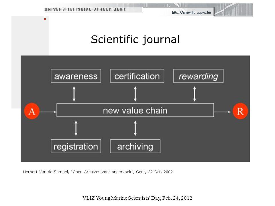 Scientific journal Herbert Van de Sompel, Open Archives voor onderzoek, Gent, 22 Oct.