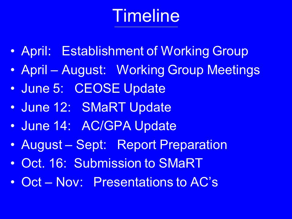 Timeline April: Establishment of Working Group April – August: Working Group Meetings June 5: CEOSE Update June 12: SMaRT Update June 14: AC/GPA Update August – Sept: Report Preparation Oct.