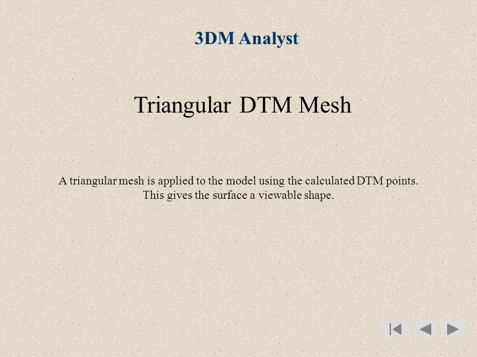Triangular DTM Mesh A triangular mesh is applied to the model using the calculated DTM points.
