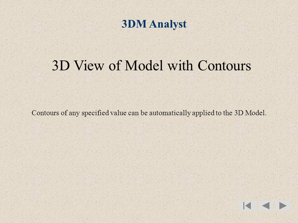 3DM Analyst 3D View of Model with Contours Contours of any specified value can be automatically applied to the 3D Model.