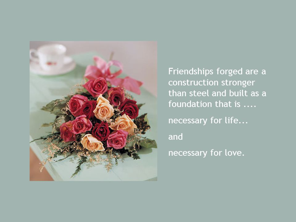 Friendships forged are a construction stronger than steel and built as a foundation that is.... necessary for life... and necessary for love.