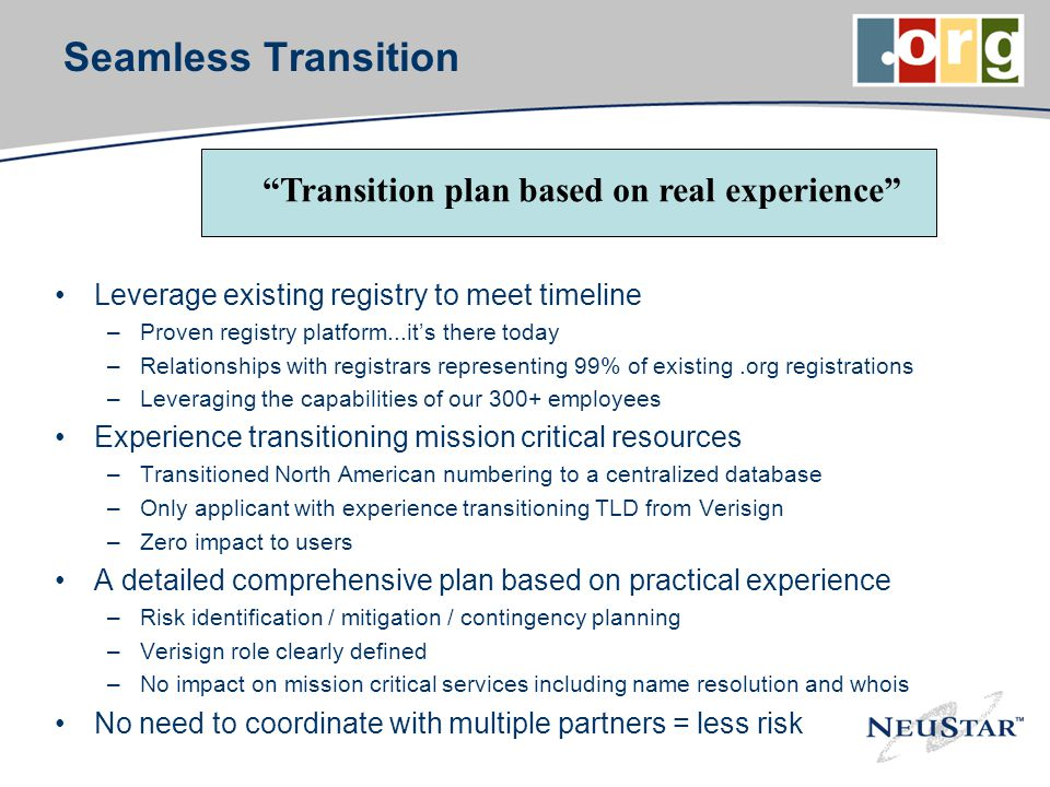 Seamless Transition Leverage existing registry to meet timeline –Proven registry platform...its there today –Relationships with registrars representin