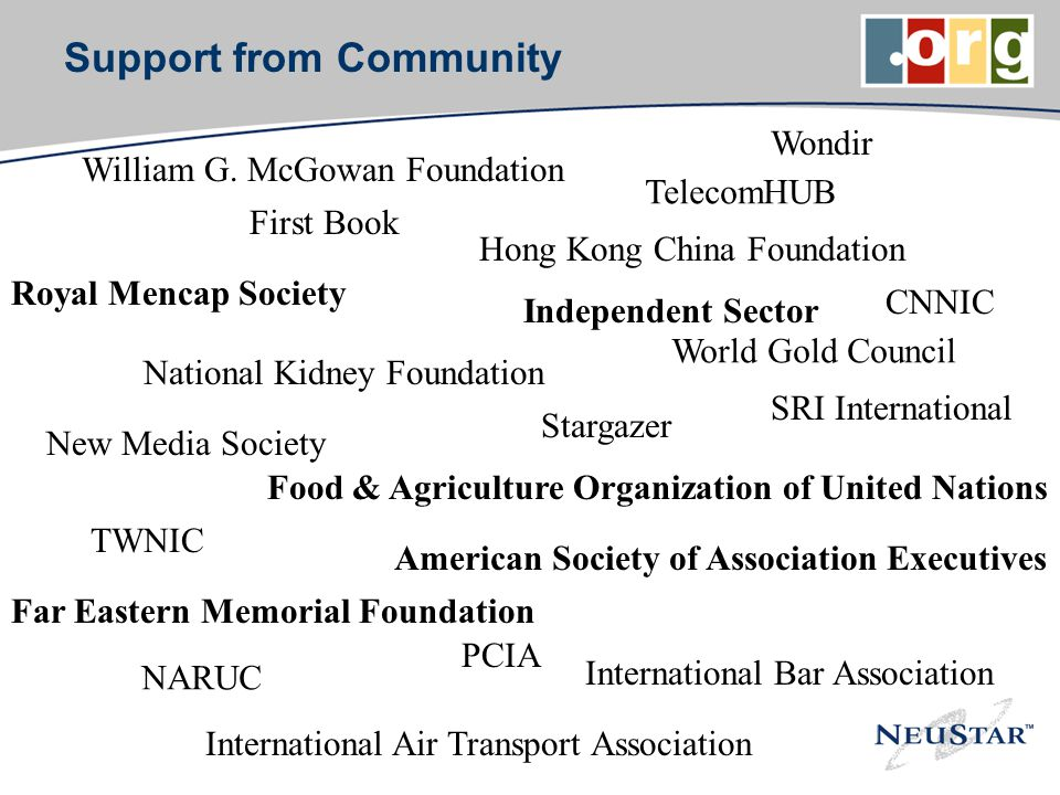 Support from Community American Society of Association Executives Independent Sector Food & Agriculture Organization of United Nations Royal Mencap Society SRI International International Air Transport Association CNNIC TWNIC Hong Kong China Foundation Far Eastern Memorial Foundation First Book National Kidney Foundation Wondir William G.