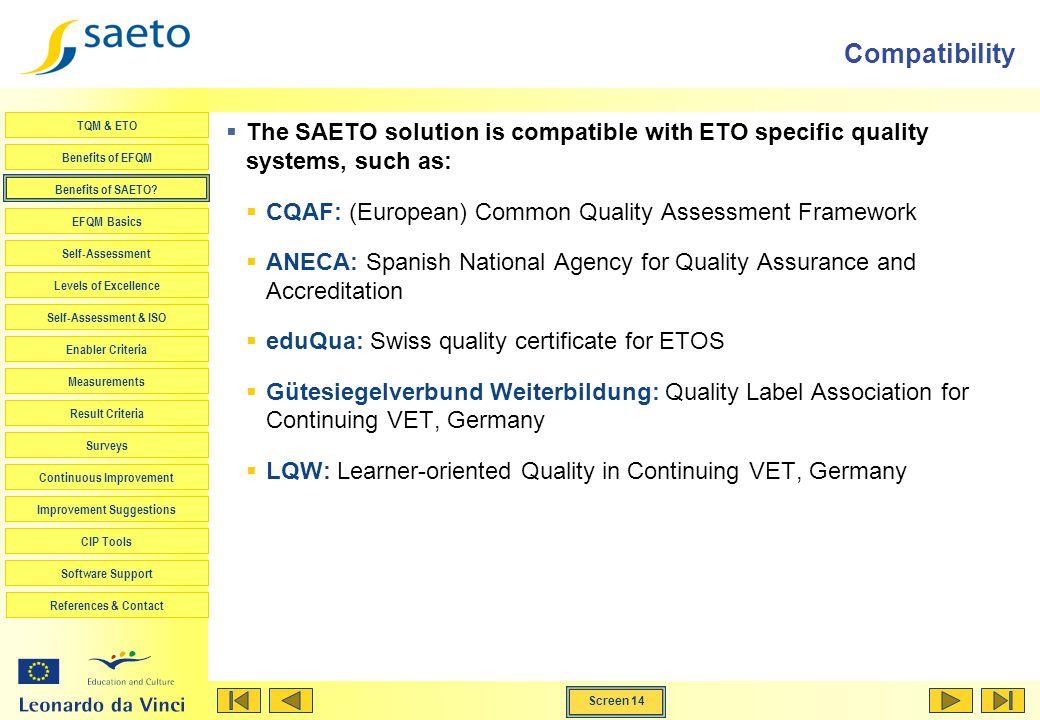 Screen 14 TQM & ETO Benefits of EFQM Benefits of SAETO? EFQM Basics Self-Assessment Levels of Excellence Self-Assessment & ISO Enabler Criteria Measur