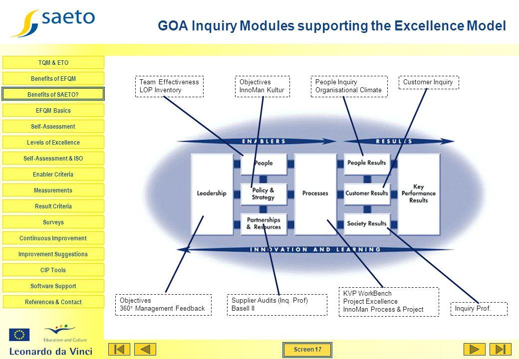 Screen 17 TQM & ETO Benefits of EFQM Benefits of SAETO? EFQM Basics Self-Assessment Levels of Excellence Self-Assessment & ISO Enabler Criteria Measur