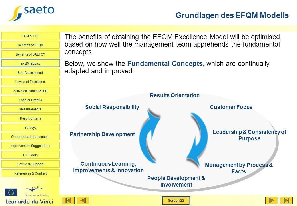 Screen 22 TQM & ETO Benefits of EFQM Benefits of SAETO? EFQM Basics Self-Assessment Levels of Excellence Self-Assessment & ISO Enabler Criteria Measur