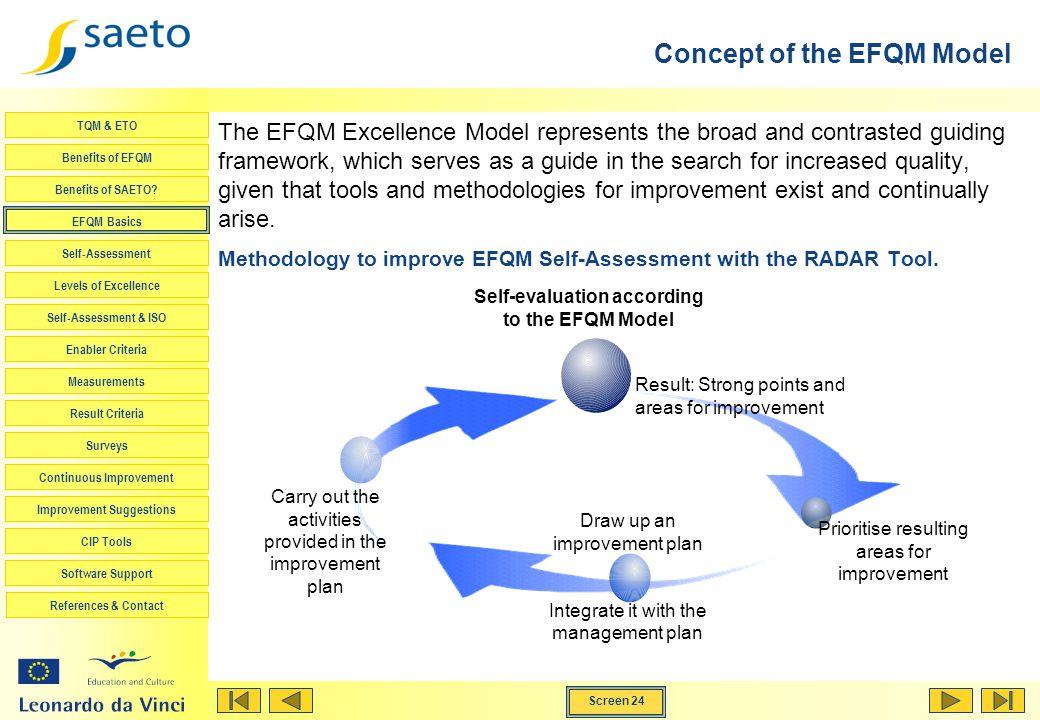 Screen 24 TQM & ETO Benefits of EFQM Benefits of SAETO? EFQM Basics Self-Assessment Levels of Excellence Self-Assessment & ISO Enabler Criteria Measur