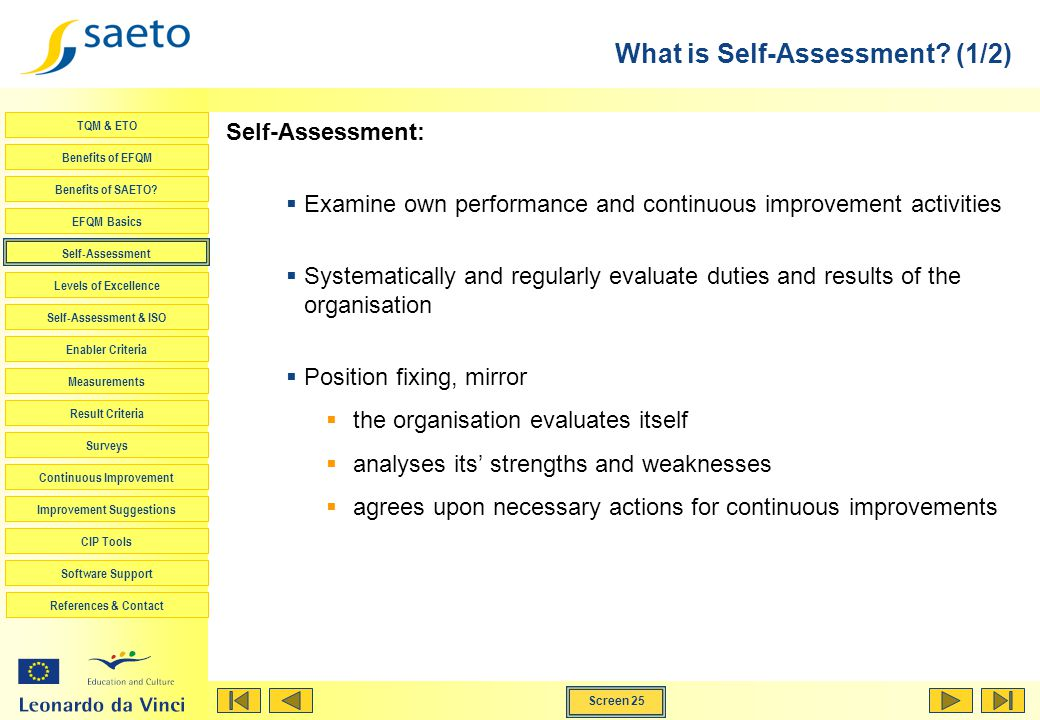 Screen 25 TQM & ETO Benefits of EFQM Benefits of SAETO? EFQM Basics Self-Assessment Levels of Excellence Self-Assessment & ISO Enabler Criteria Measur