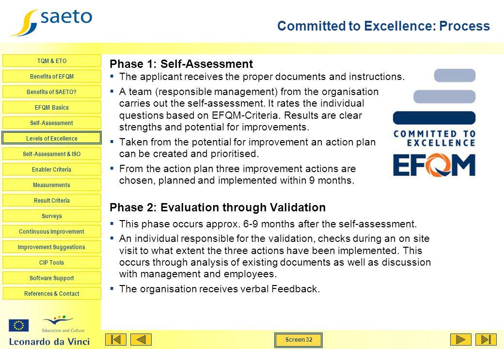 Screen 32 TQM & ETO Benefits of EFQM Benefits of SAETO? EFQM Basics Self-Assessment Levels of Excellence Self-Assessment & ISO Enabler Criteria Measur