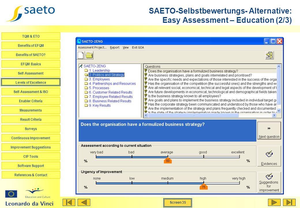 Screen 35 TQM & ETO Benefits of EFQM Benefits of SAETO? EFQM Basics Self-Assessment Levels of Excellence Self-Assessment & ISO Enabler Criteria Measur