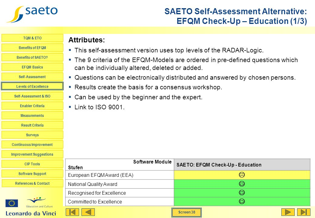 Screen 38 TQM & ETO Benefits of EFQM Benefits of SAETO? EFQM Basics Self-Assessment Levels of Excellence Self-Assessment & ISO Enabler Criteria Measur