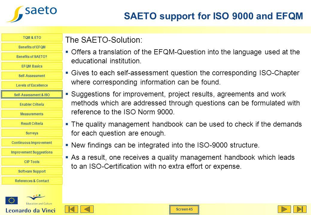Screen 45 TQM & ETO Benefits of EFQM Benefits of SAETO? EFQM Basics Self-Assessment Levels of Excellence Self-Assessment & ISO Enabler Criteria Measur