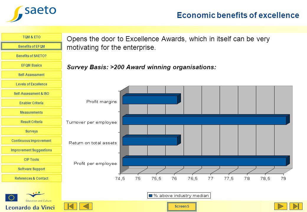 Screen 5 TQM & ETO Benefits of EFQM Benefits of SAETO? EFQM Basics Self-Assessment Levels of Excellence Self-Assessment & ISO Enabler Criteria Measure