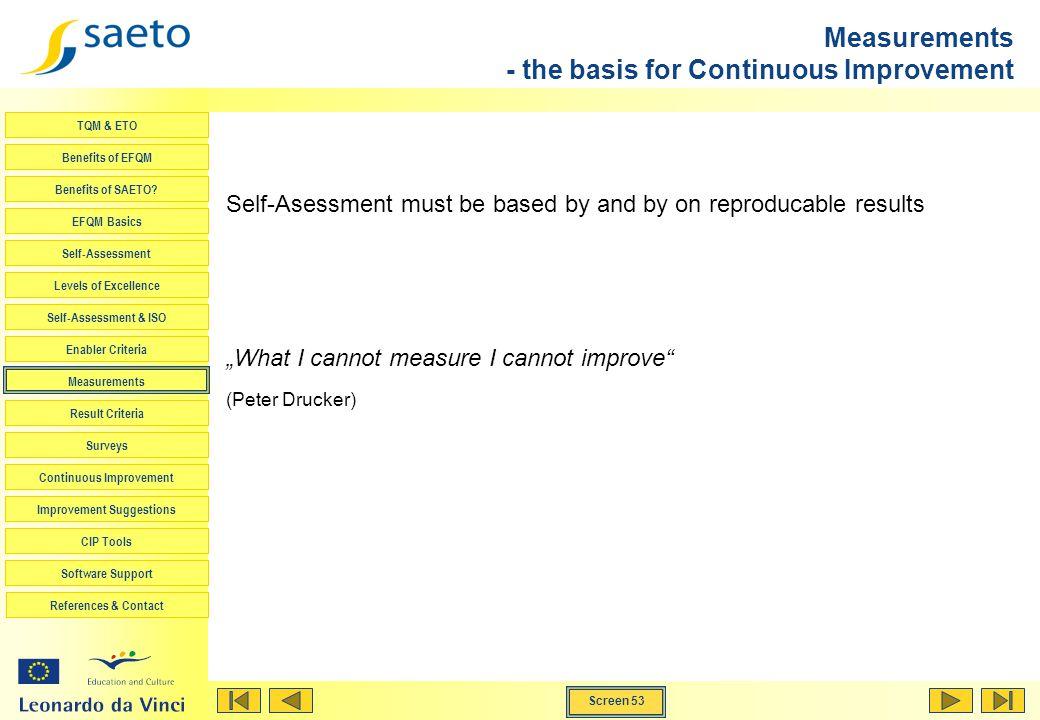 Screen 53 TQM & ETO Benefits of EFQM Benefits of SAETO? EFQM Basics Self-Assessment Levels of Excellence Self-Assessment & ISO Enabler Criteria Measur