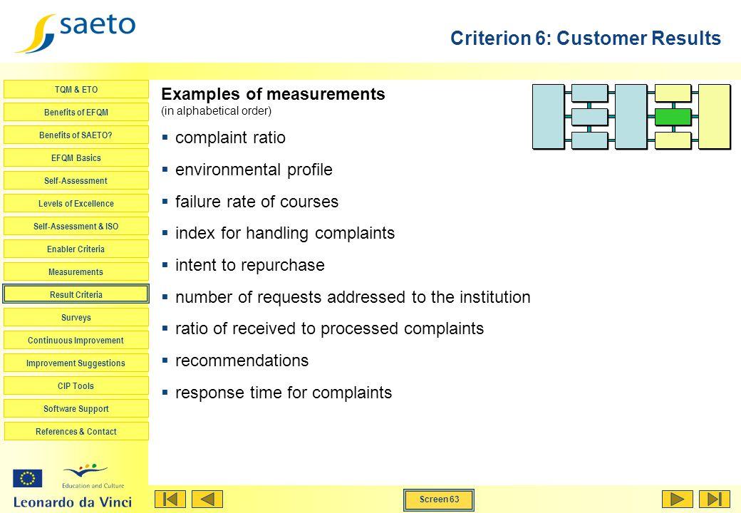 Screen 63 TQM & ETO Benefits of EFQM Benefits of SAETO? EFQM Basics Self-Assessment Levels of Excellence Self-Assessment & ISO Enabler Criteria Measur