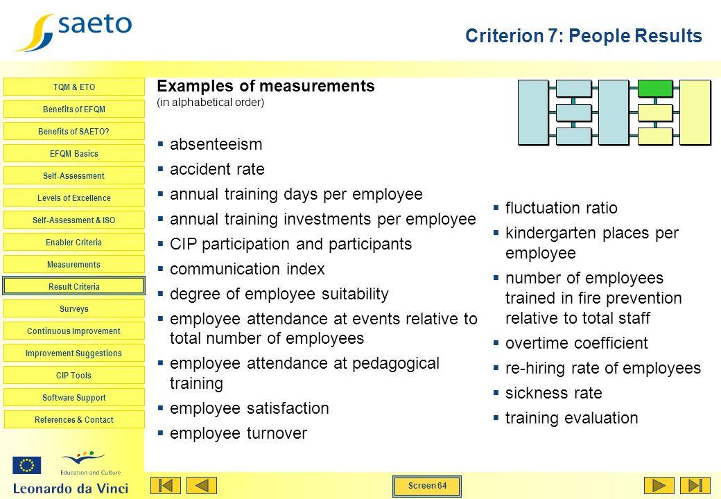 Screen 64 TQM & ETO Benefits of EFQM Benefits of SAETO? EFQM Basics Self-Assessment Levels of Excellence Self-Assessment & ISO Enabler Criteria Measur