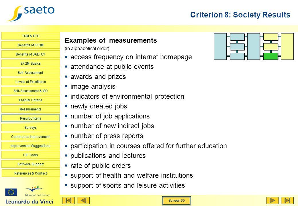 Screen 65 TQM & ETO Benefits of EFQM Benefits of SAETO? EFQM Basics Self-Assessment Levels of Excellence Self-Assessment & ISO Enabler Criteria Measur