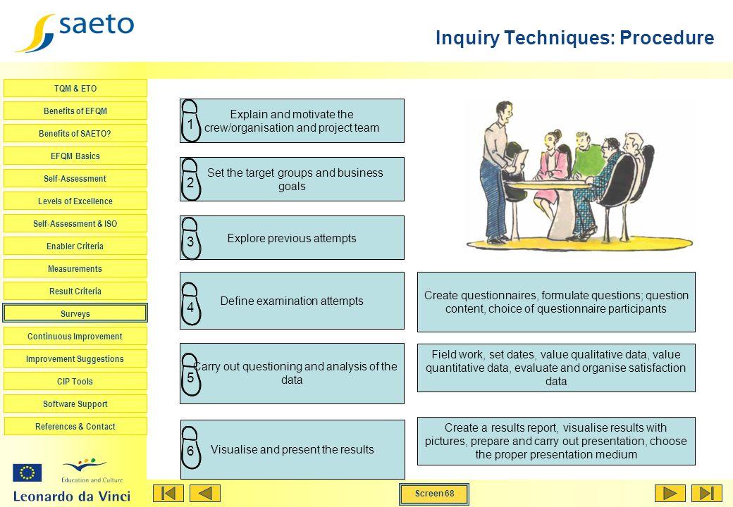 Screen 68 TQM & ETO Benefits of EFQM Benefits of SAETO? EFQM Basics Self-Assessment Levels of Excellence Self-Assessment & ISO Enabler Criteria Measur