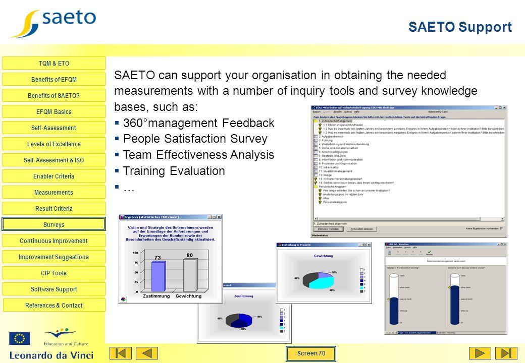 Screen 70 TQM & ETO Benefits of EFQM Benefits of SAETO? EFQM Basics Self-Assessment Levels of Excellence Self-Assessment & ISO Enabler Criteria Measur