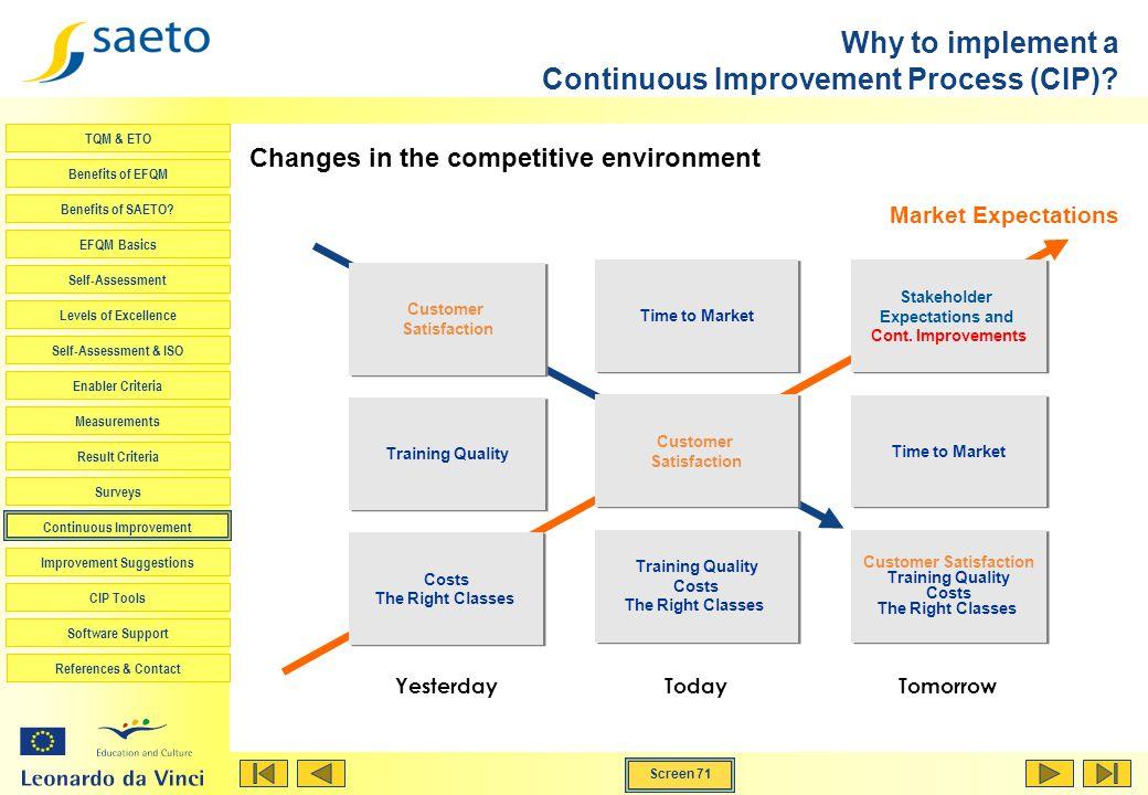 Screen 71 TQM & ETO Benefits of EFQM Benefits of SAETO? EFQM Basics Self-Assessment Levels of Excellence Self-Assessment & ISO Enabler Criteria Measur