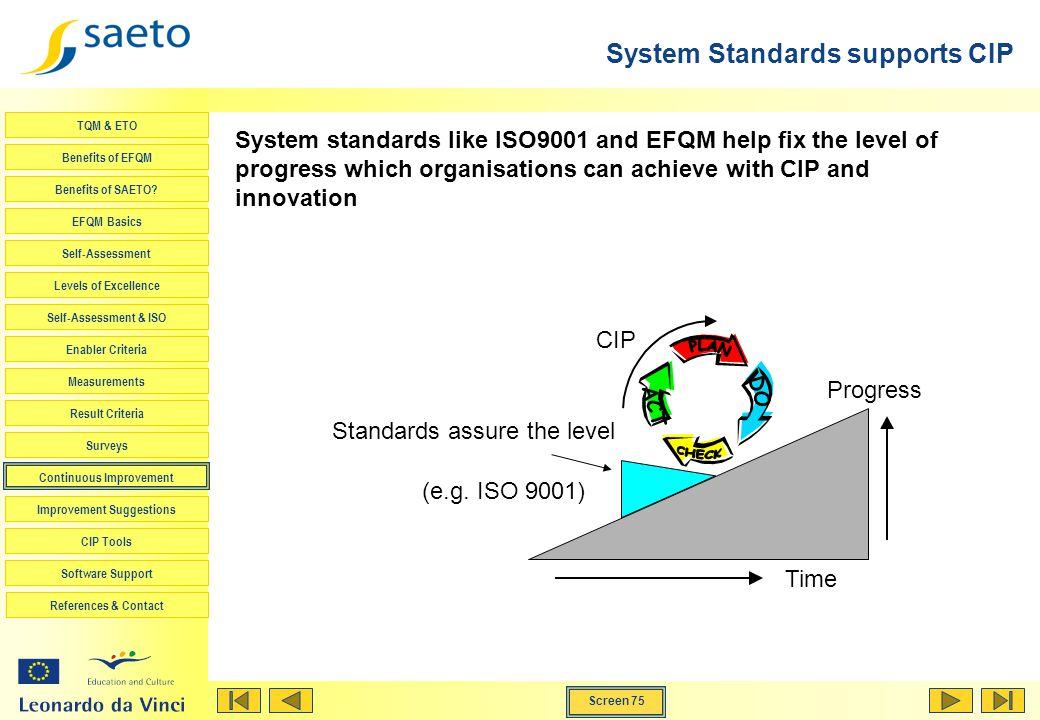 Screen 75 TQM & ETO Benefits of EFQM Benefits of SAETO? EFQM Basics Self-Assessment Levels of Excellence Self-Assessment & ISO Enabler Criteria Measur