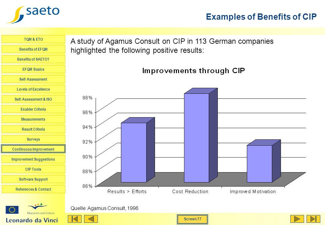 Screen 77 TQM & ETO Benefits of EFQM Benefits of SAETO? EFQM Basics Self-Assessment Levels of Excellence Self-Assessment & ISO Enabler Criteria Measur