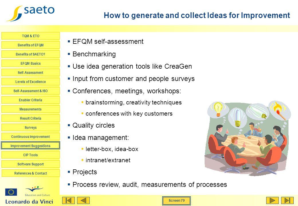 Screen 79 TQM & ETO Benefits of EFQM Benefits of SAETO? EFQM Basics Self-Assessment Levels of Excellence Self-Assessment & ISO Enabler Criteria Measur