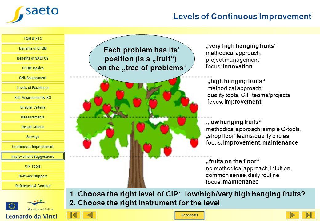 Screen 81 TQM & ETO Benefits of EFQM Benefits of SAETO? EFQM Basics Self-Assessment Levels of Excellence Self-Assessment & ISO Enabler Criteria Measur