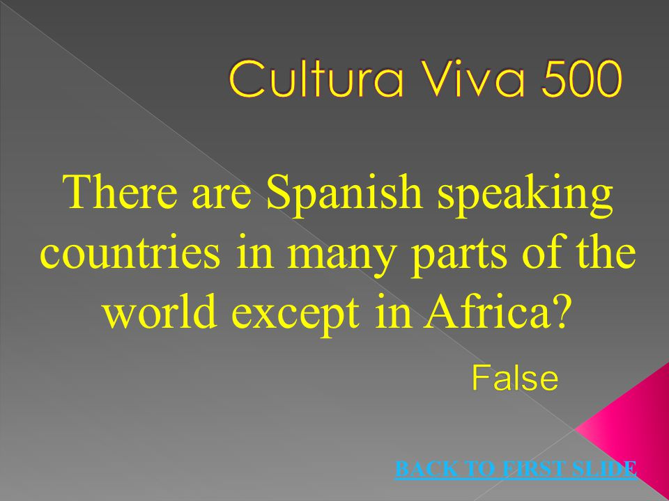 There are Spanish speaking countries in many parts of the world except in Africa? BACK TO FIRST SLIDE