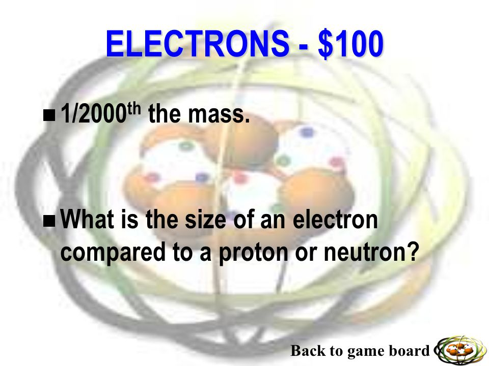 NUCLEONS - $500 n The forces that hold the neutrons and the protons together in the nucleus. n What are nuclear forces? Back to game board