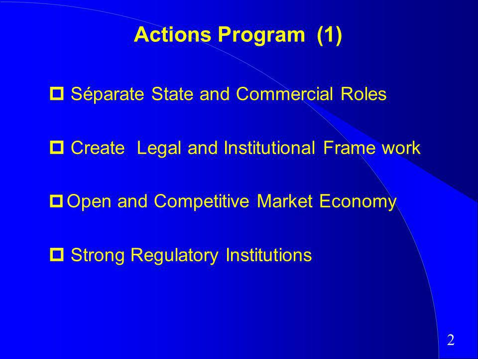 Actions Program (1) Séparate State and Commercial Roles Create Legal and Institutional Frame work p Open and Competitive Market Economy Strong Regulat