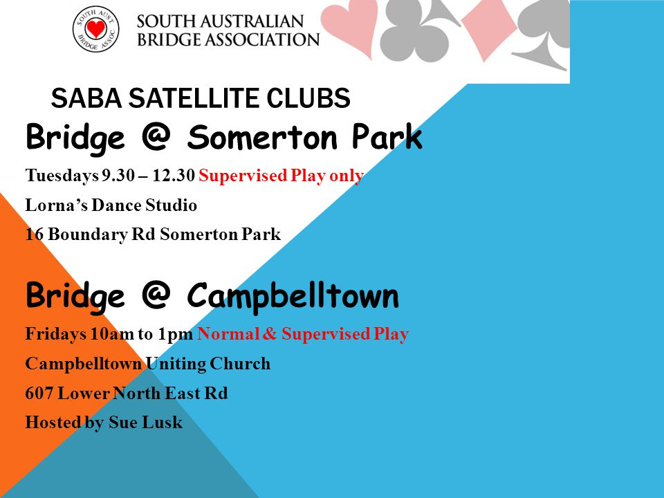 SABA SATELLITE CLUBS Somerton Park Tuesdays 9.30 – Supervised Play only Lornas Dance Studio 16 Boundary Rd Somerton Park Campbelltown Fridays 10am to 1pm Normal & Supervised Play Campbelltown Uniting Church 607 Lower North East Rd Hosted by Sue Lusk