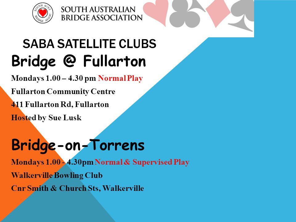 SABA SATELLITE CLUBS Fullarton Mondays 1.00 – 4.30 pm Normal Play Fullarton Community Centre 411 Fullarton Rd, Fullarton Hosted by Sue Lusk Bridge-on-Torrens Mondays pm Normal & Supervised Play Walkerville Bowling Club Cnr Smith & Church Sts, Walkerville