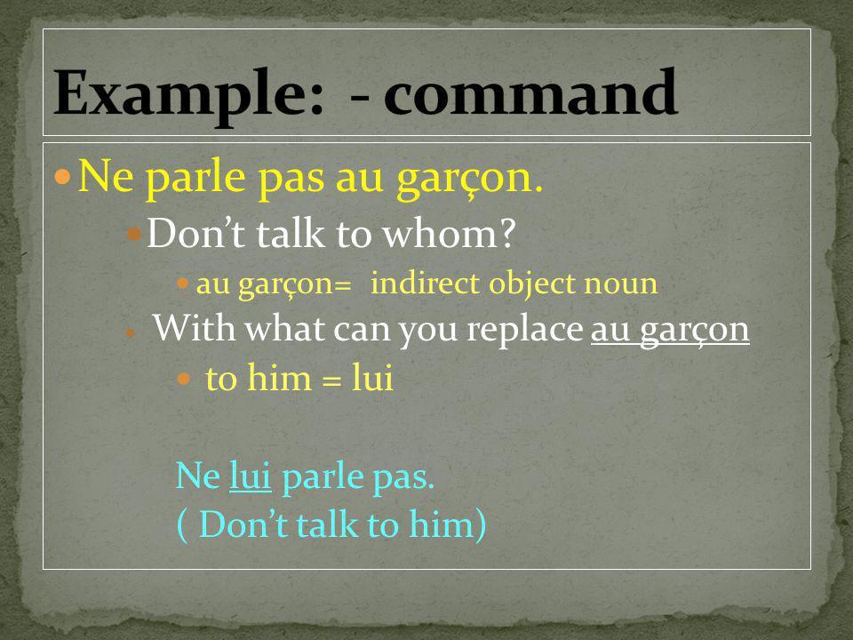 Ne parle pas au garçon. Dont talk to whom? au garçon= indirect object noun With what can you replace au garçon to him = lui Ne lui parle pas. ( Dont t