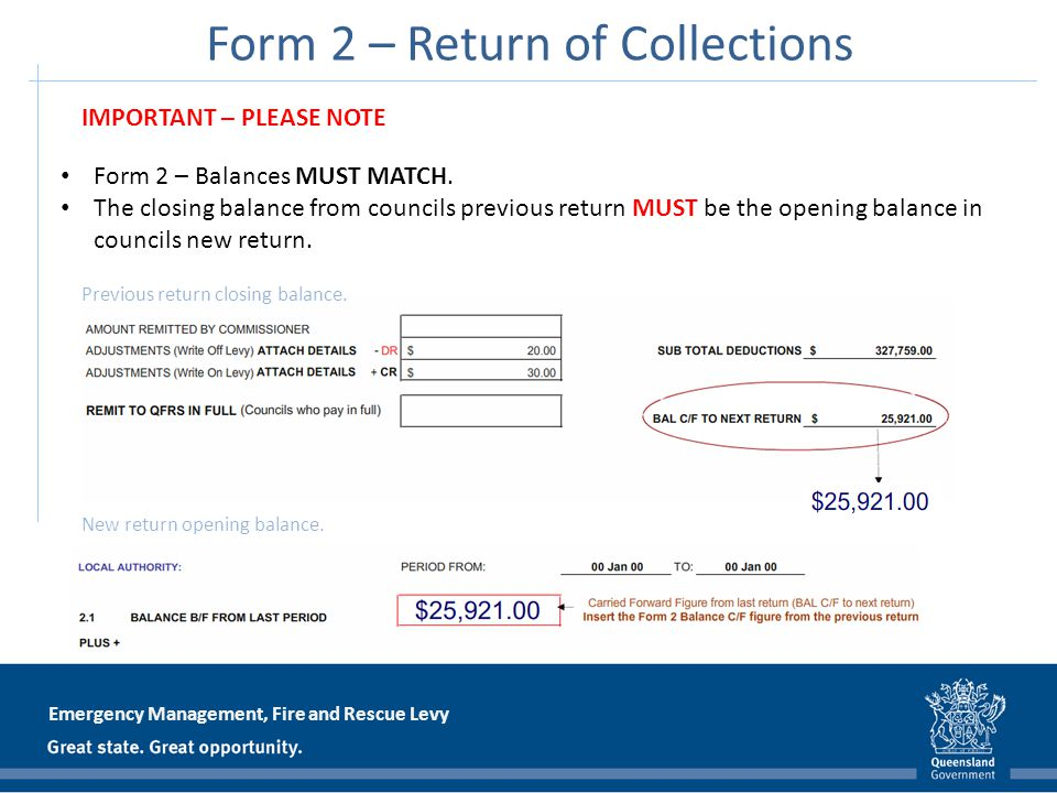 Emergency Management, Fire and Rescue Levy Form 2 – Return of Collections Form 2 – Balances MUST MATCH. The closing balance from councils previous ret