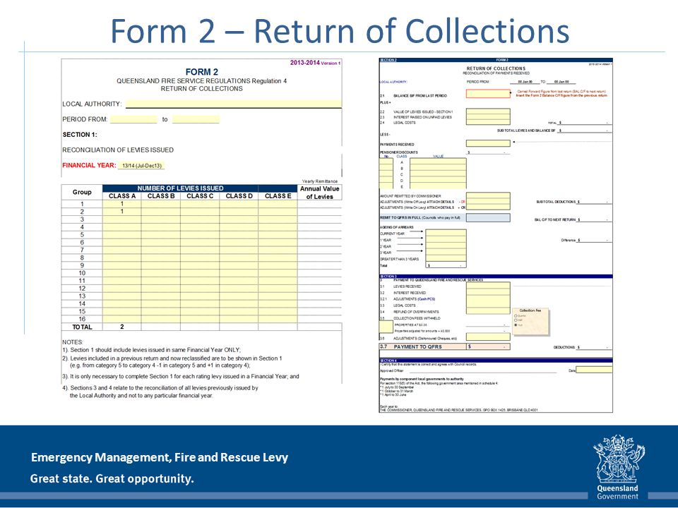 Emergency Management, Fire and Rescue Levy Form 2 – Return of Collections
