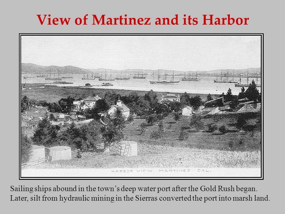 View of Martinez and its Harbor Sailing ships abound in the towns deep water port after the Gold Rush began. Later, silt from hydraulic mining in the
