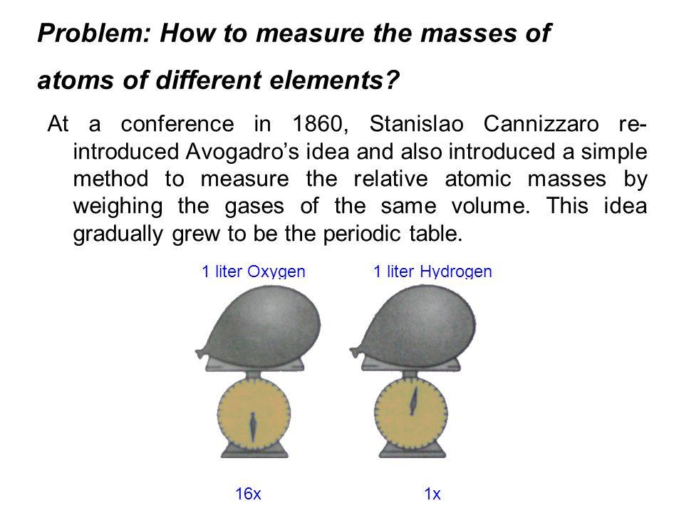 Problem: How to measure the masses of atoms of different elements? At a conference in 1860, Stanislao Cannizzaro re- introduced Avogadros idea and als