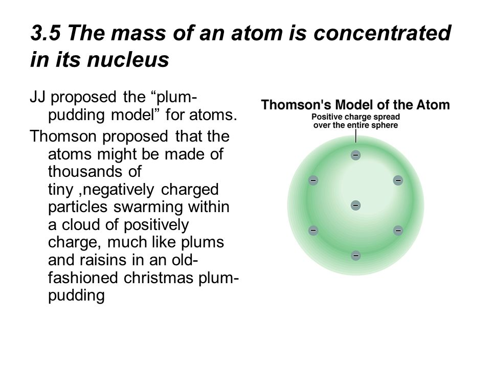 3.5 The mass of an atom is concentrated in its nucleus JJ proposed the plum- pudding model for atoms. Thomson proposed that the atoms might be made of