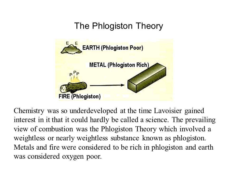The Phlogiston Theory Chemistry was so underdeveloped at the time Lavoisier gained interest in it that it could hardly be called a science. The prevai